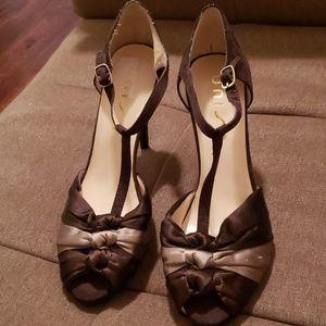 Shoes - Dark Brown Satin Heels